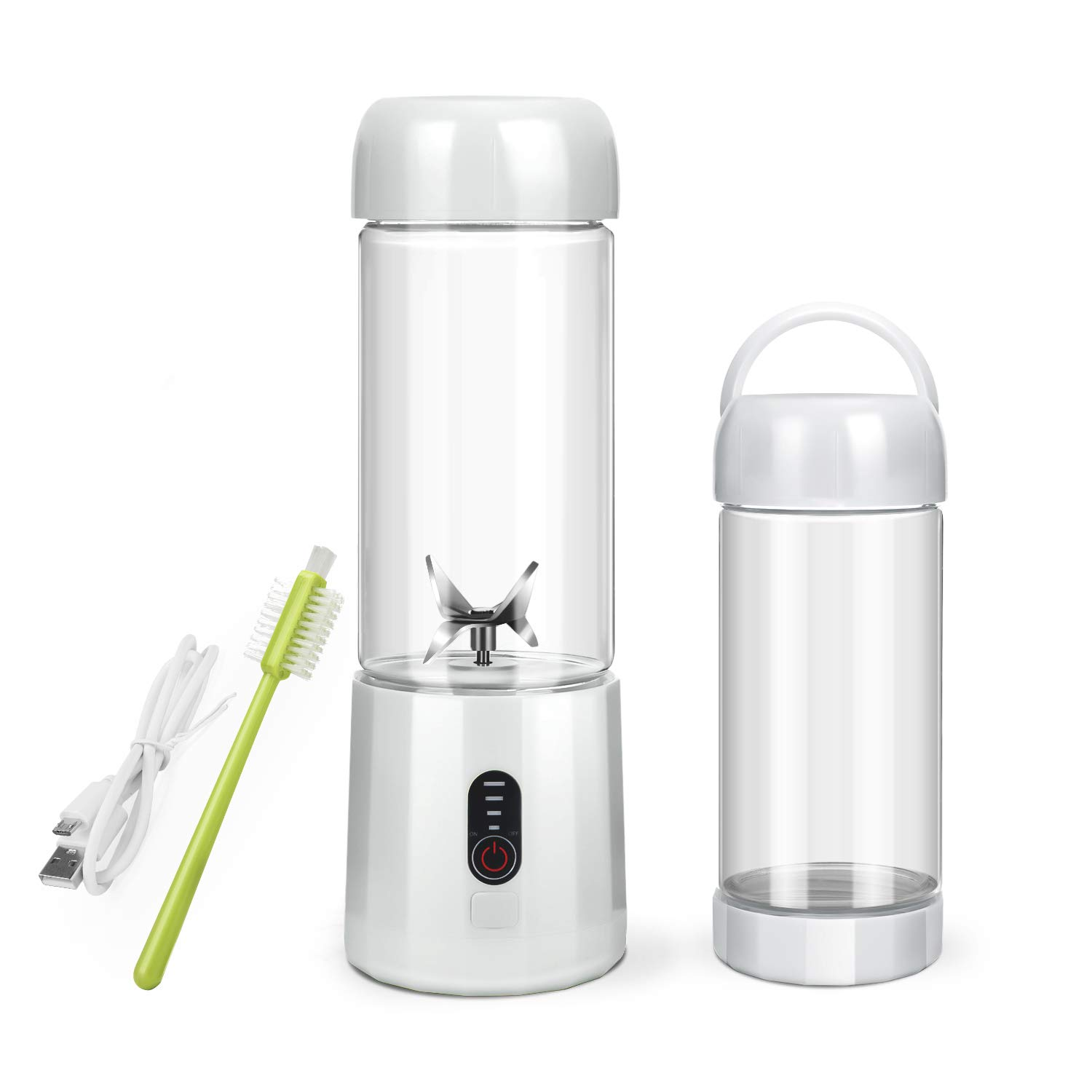 Personal Portable Blender with 480ml Travel Bottle, USB Rechargeable Single Served Smoothie Blender Six Blades in 3D Superb Mixing Personal Size Mixer Fruit Juicer Blender for Shakes and Smoothies by BZseed