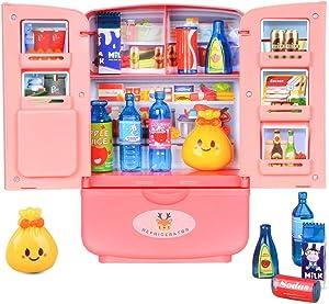 RVEE Mini Kitchen Fridge Pretend Play Toys,Kids Little Refrigerator Playset Double Door Mini Fridge with Play Foods Accessories, Mini Dollhouse Furniture Decoration Accessories, Gift for Boys Girls