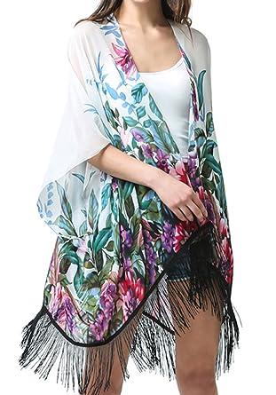 MissShorthair Women's Light Floral Print Chiffon Kimono Cardigan ...