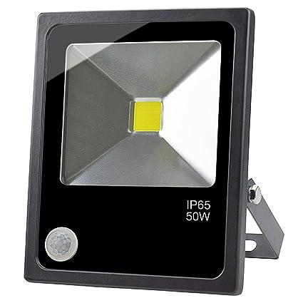 GLW 50W LED Sensor Movimiento Luz de Inundación Super Brillante Luz Diurna Foco con PIR Exterior