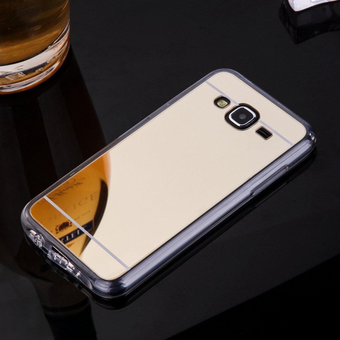 Sycode Hü lle Spiegel Glitzer Diamant Strass Ü berzug Gold Weiche Glä nzend Shell Etui mit Bä r Ring Stä nder for Samsung Galaxy J7 2015-Silber