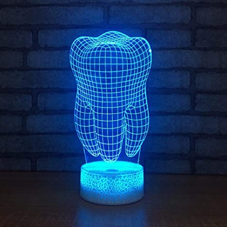 weiaikeke Diente Creativo Dientes Lámpara LED 3D RGB Luz de ...