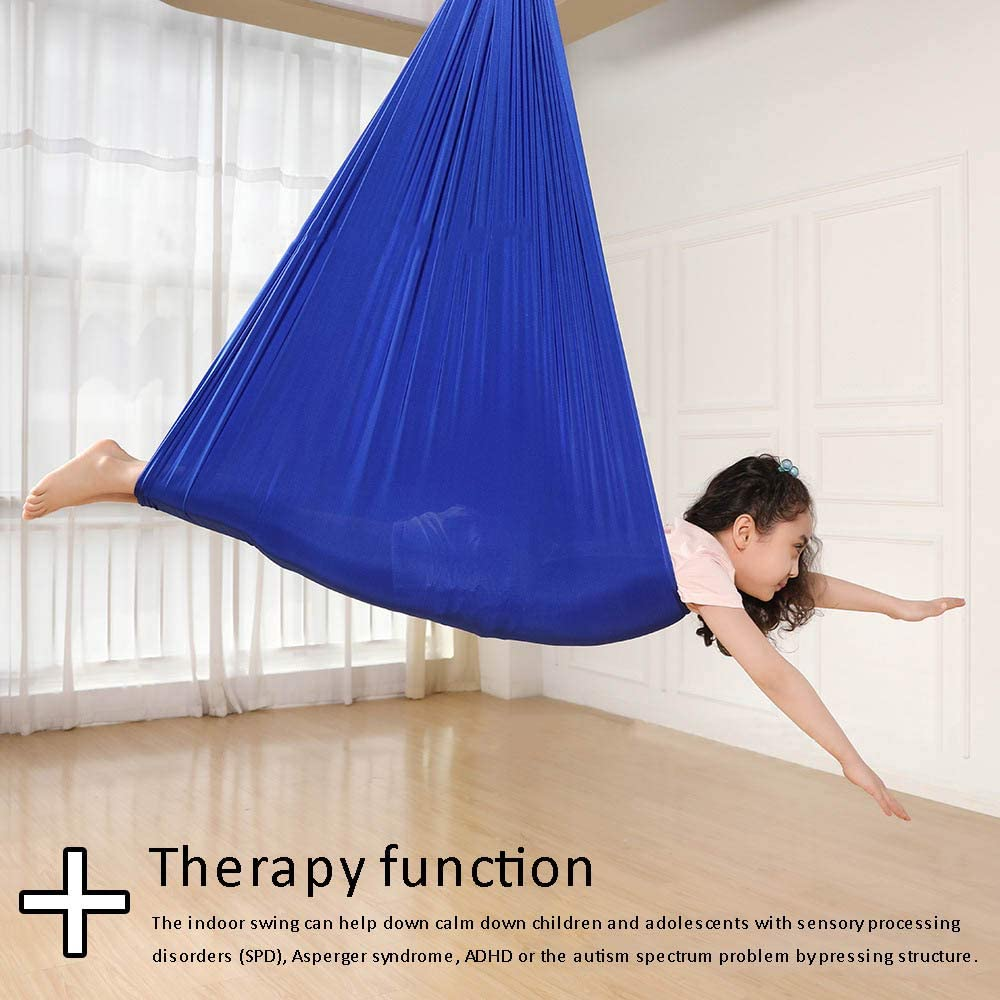 Indoor Therapy Swing for Kids Child with Hammock Elastic Silk Fabric Swing for Yoga PopHMN Indoor Swing Blue