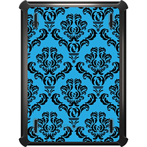 (DistinctInk Case Compatible with iPad Mini 4 - Custom Black OtterBox Defender with Stand, Screen Protector - Blue Black Damask Pattern - Floral Damask Pattern)
