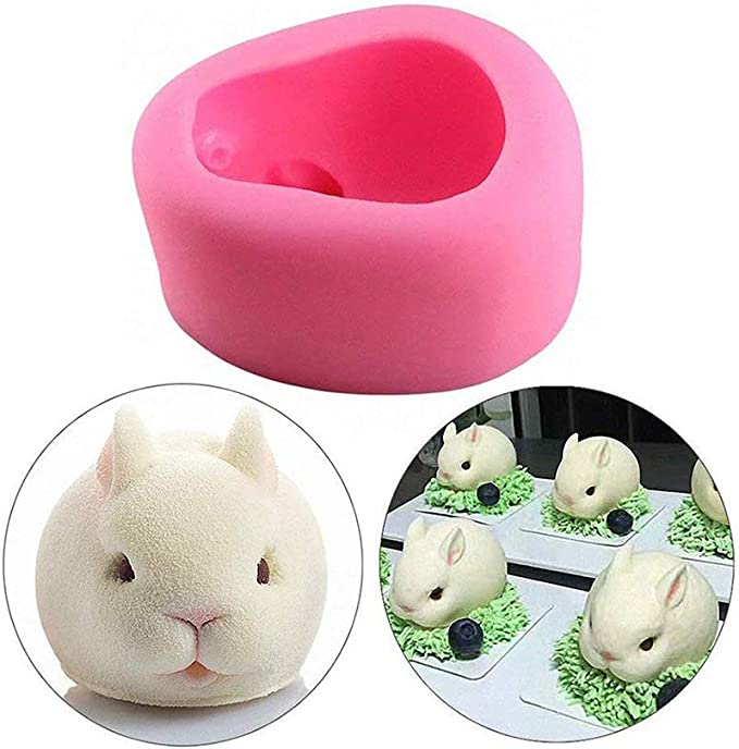 3D Rabbit Easter Bunny Silicone Kitchen Fondant Molds Cupcake Tools Sugar TH