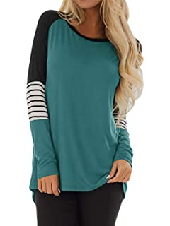 Cindeyar Pull Femme Hiver Casual Lâche Rayures Pullover Col Rond Manches  Longues Tricot Sweat-Shirt 737089626dd4