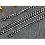Flat Shap 7mm Chain For Mini Women bags Replacement purse chain / chain strap / chain purse strap / purse chain straps DIY (Black, Length 100cm)
