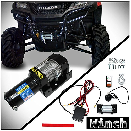 WIN-2 X 1pc Brand New Universal DC 12V 4500lb Capacity Electric Waterproof Recovery Winch Kit With Mounting Plate & Wireless Remote Control Switch For ATV UTV Plow Boat Car & More Applications ()