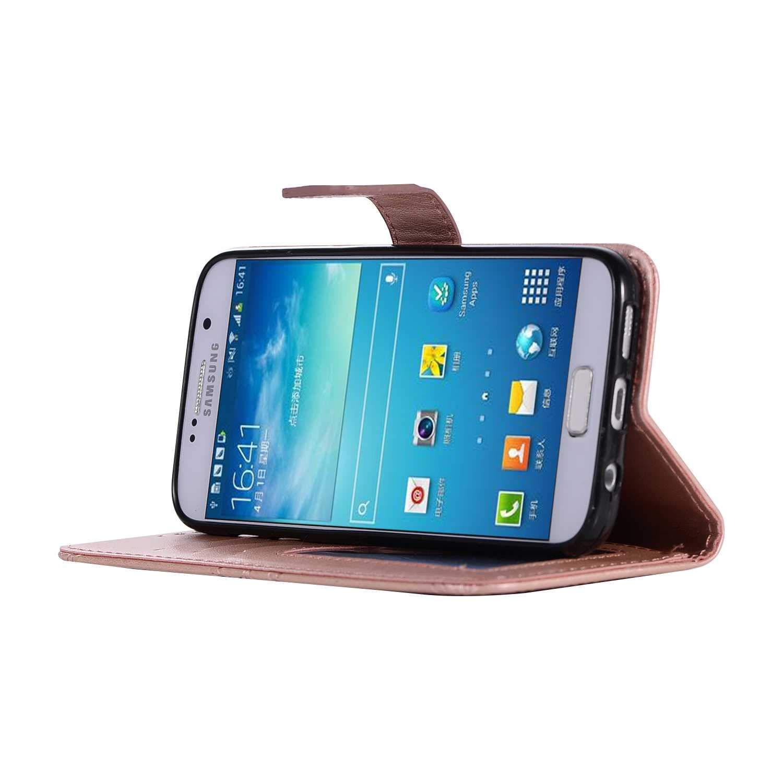 Marron DENDICO Coque Galaxy S7 Edge Slim Coque en PU Cuir Premium Portefeuille Etui pour Samsung Galaxy S7 Edge Fleur Motif Housse
