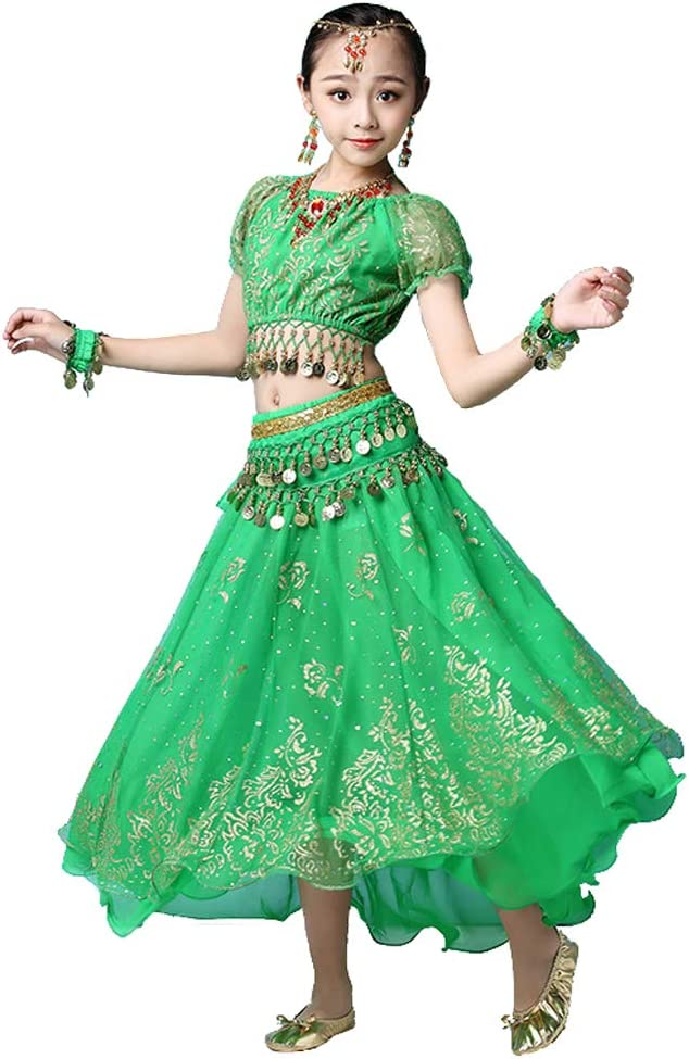 Grouptap Bollywood Indio niña niños Folk bharatanatyam Danza del Vientre Falda Verde Superior de 2 Piezas Traje de Traje de Rendimiento de los niños Trajes