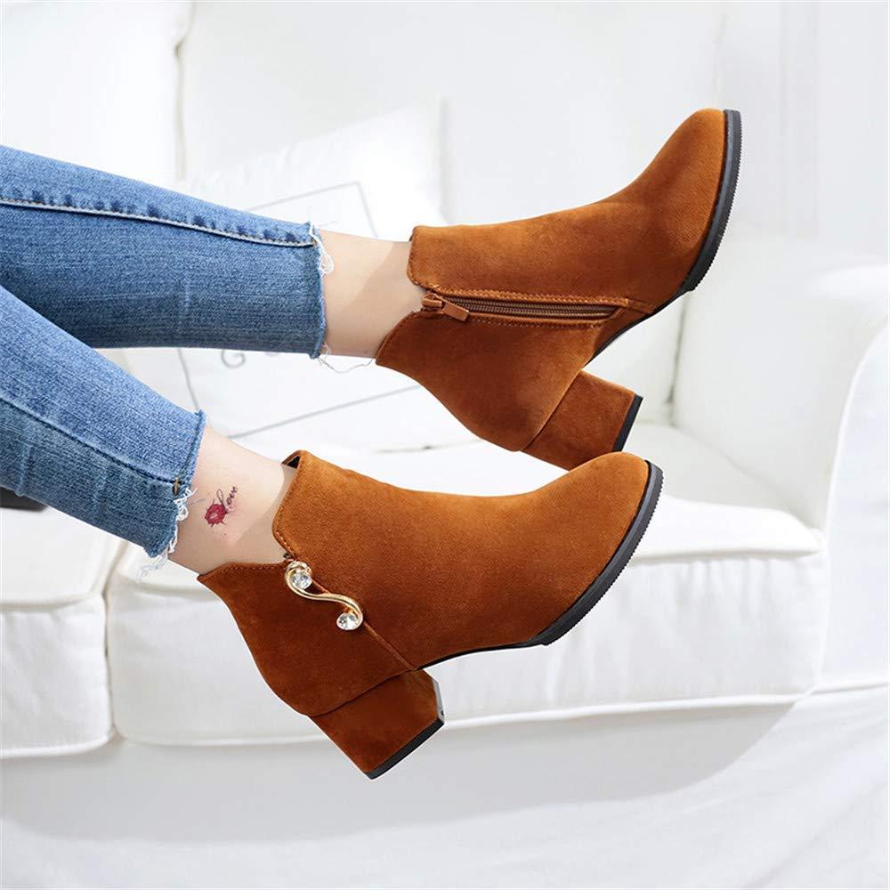 Qiusa High Heels Seitlicher Seitlicher Heels Reißverschluss Damenstiefel dick mit Martin Stiefel Seitlicher Reißverschluss Damenstiefel komfortable Kinder (Farbe   35 Größe   Dark braun) 39cc80