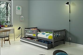Interbeds Lit Enfant Carino 190x90 Sommier Tiroir Blanc Gris Gris