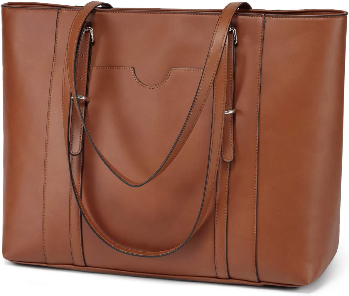 Laptop Tote Bag for Women,Vaschy PU Leather Water Resistant Travel,Work,Teacher Tote Bag Fits 15.6 inch Laptop Brown