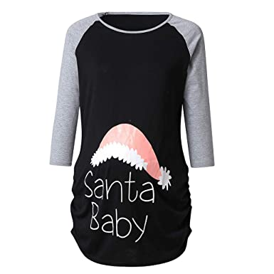 5ce944df0fc8 2019 Sale! Early Maternity Clothes Women Christmas Print 3/4 Sleeve ...
