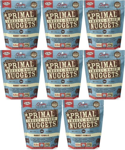 Primal Freeze-Dried Nuggets Rabbit Formula for Cats 44oz (8 x 5.5oz) by Primal