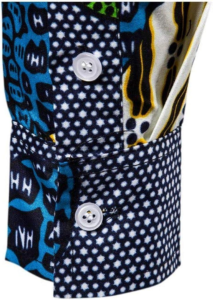 Mens Floral Cotton Button Down Long Sleeve Hawaiian Shirt Slim Fit Casual Paisley Print Shirt Stylish Dress Shirt
