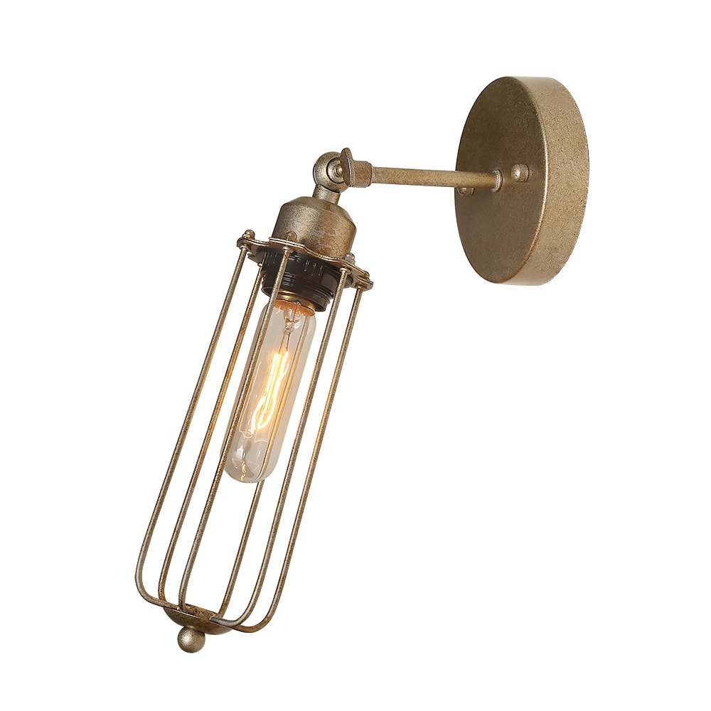 LNC 1-Light Industrial Wall Lamps Wire Cage Wall Sconces Adjustable Tubular Edison Sconces Wall Lighting