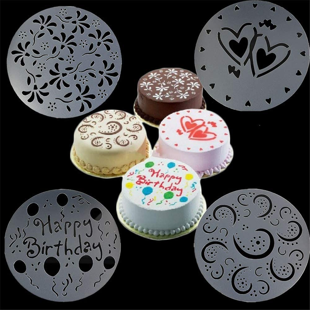 4Pcs Flower Heart Cake Mold,Cupcake Cooking Coffee Stencil Set Birthday Spiral Template Variety Decorating Cake Stencil.