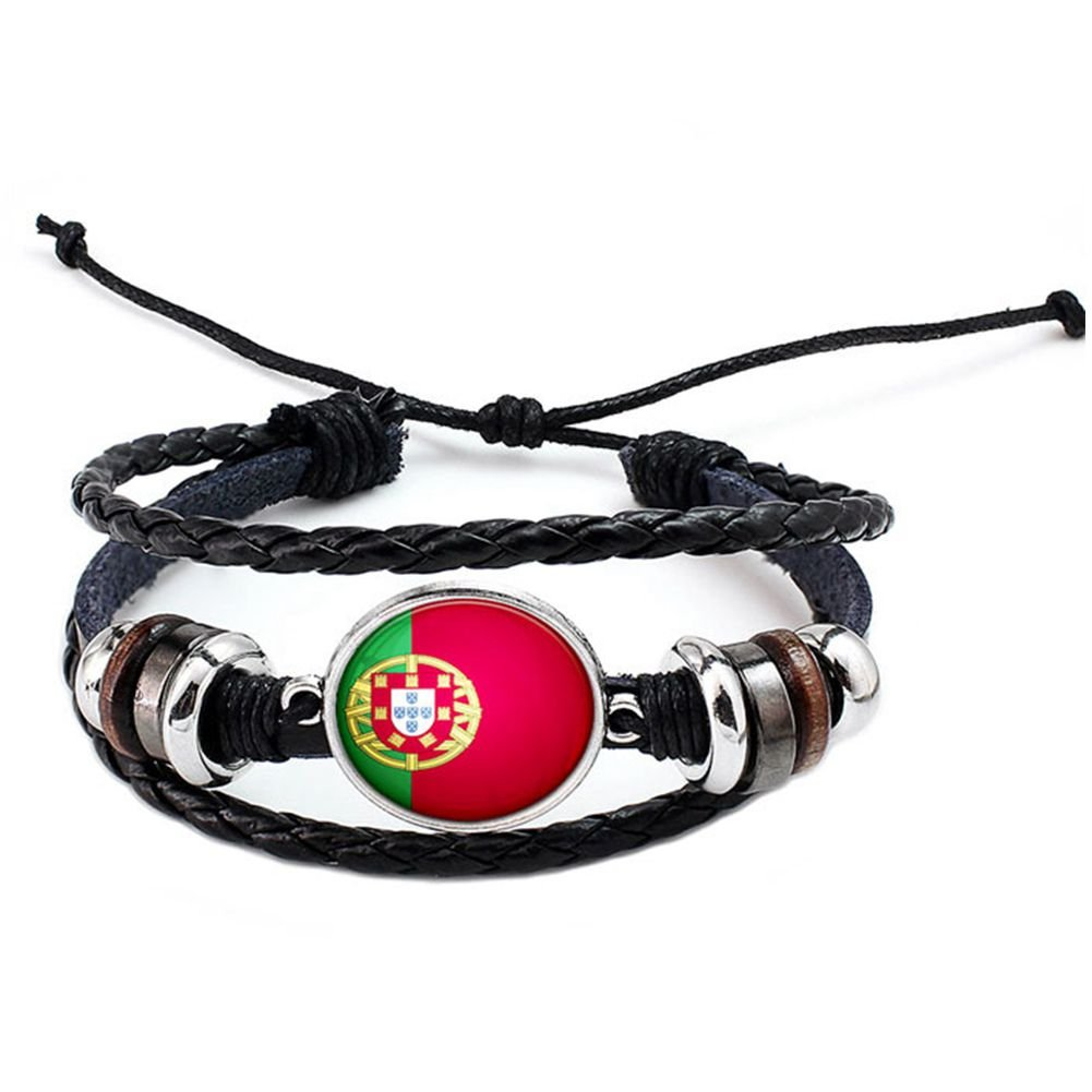 SODIAL World CUp 2018 National Flags Charm Bracelet Bangles Leather Braided Rope Bracelet Beads Wristband Cuff Women Men Gift B1213-Portugal