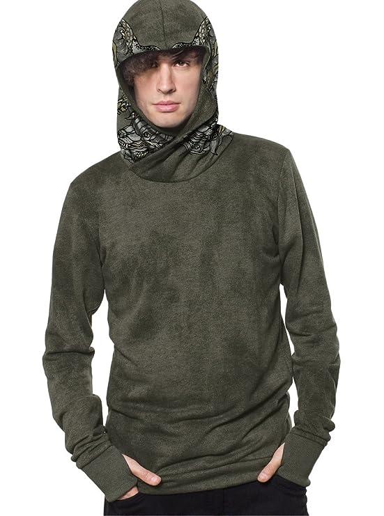 Suéter con Capucha y serigrafía Fantasy Dragon, Ropa Urbana 100% algodón para Hombre, Verde Oliva - Talla M: Amazon.es: Ropa y accesorios