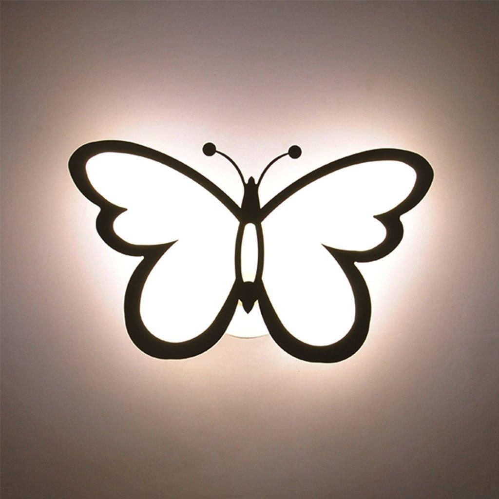 CHENGYI Wandlampe, Schlafzimmer Nachttischlampe Creative Butterfly Wandleuchte Wohnzimmer Hintergrund Wand Treppen Korridor Kinderzimmer Deckenleuchte Dekoration Nachtlicht Drei-Farben-Dimmen 28W