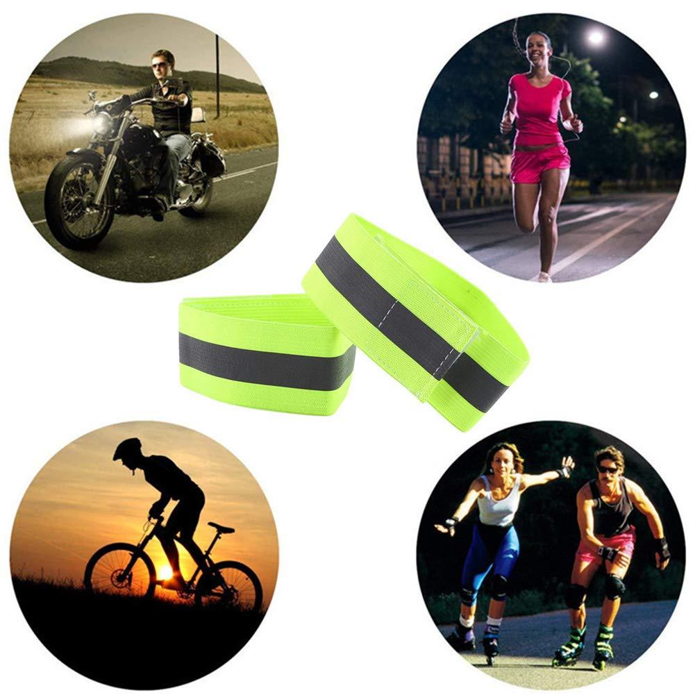 INTVN 4 Fascia Catarifrangente Bracciale di Sicurezza Bande Riflettenti Regolabile Alta visibilit/à Doppia Linee Braccio Caviglia Polso per Corsa Bici Moto Running Sport Salvataggio Jogging Cane