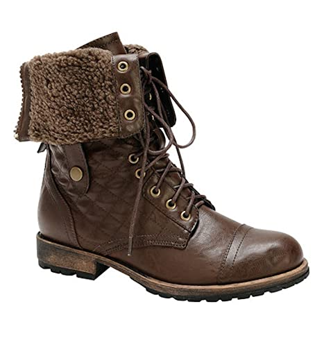 Amazon Womens Quilted Lace Up Faux Fur Fold Over Mid Calf