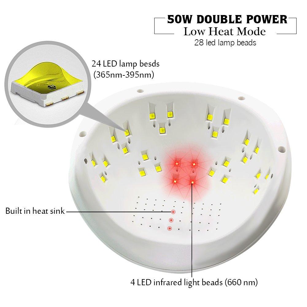 50W UV LED Nagellampe, Auge and Haut Freundlich Nail Trockner mit ...