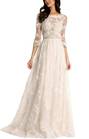 dbda83a7341 APXPF Women s A line Lace Illusion Tulle Wedding Dress for Bride with Sleeves  Ivory US2