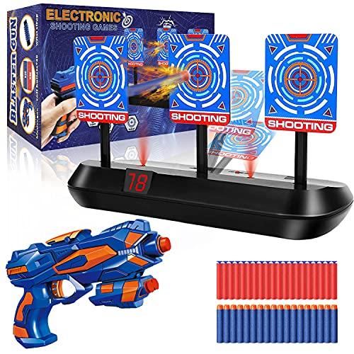 Zielscheibe für Nerf Pistole, Elektronisches Digitales Ziel mit 1 Kinder Gewehr, 40 Schaumstoff Munition, Wertung & Auto Rücksetzung & Sound, Outdoor Kinder Spiele Spielzeug, 4-12 Jahre Junge Geschenk