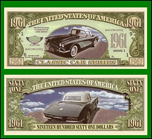 1961 Corvette Convertible Novelty Money Bill In Top Quality Currency Holder