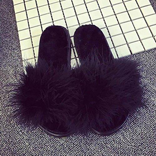 e3afa8776f1f Rawdah Claquette Femme Chaussures Fille Glissez sur Les Diapositives Fluffy  en Fausse Fourrure Plat Slipper Flip Flop Sandal  Amazon.fr  Chaussures et  Sacs