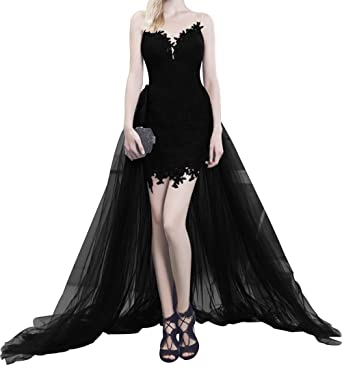 Kings Love Illusion Straps Short Prom Dresses Lace With Tulle Train Sexy Cocktail Party Dress Ball
