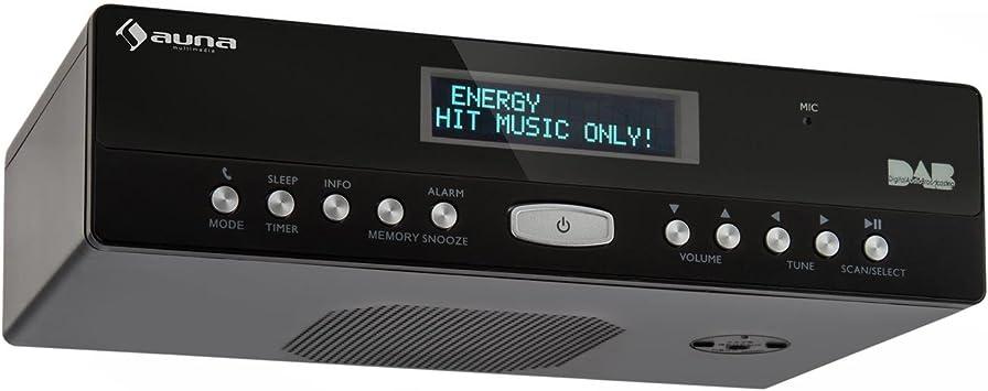 Auna KR-100 Radio de Cocina Dab Bluetooth (Radio FM, minicadena con Temporizador, Alarma, Montaje Debajo de Mueble) - Negro