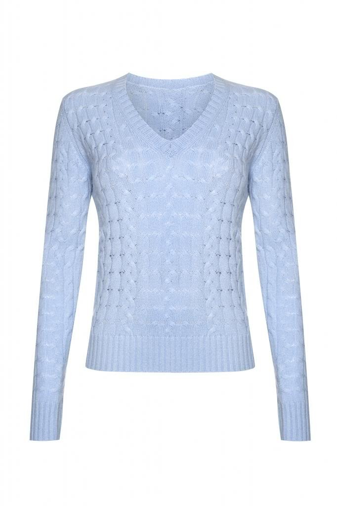 Ladies Cashmere Cable V- Neck Sweater, Baby Blue, L