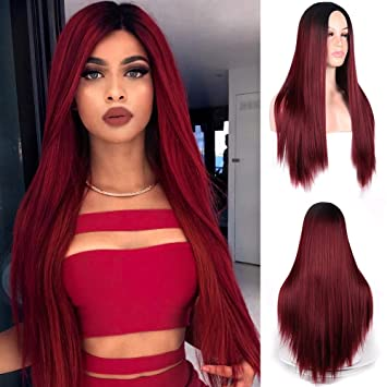 MERISIHAIR Wine Red Long Straight Hair Synthetic Wigs Heat Resistant Party  Cosplay Ombre Color for Women 5eefab221