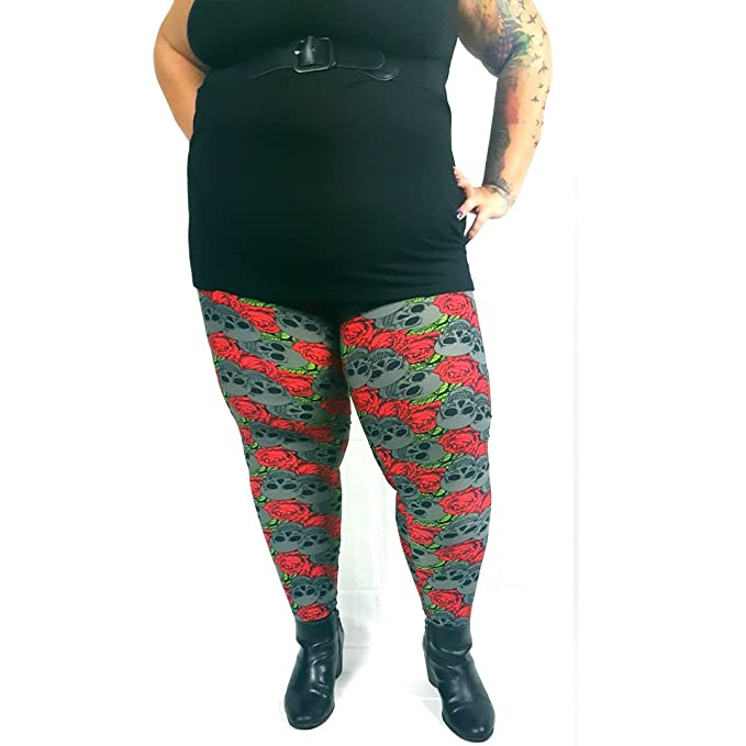 da6824181ba Woman s Buttery Soft Plus Size Skull Leggings Gothic Black Red Rose Punk  Rock Rockabilly at Amazon Women s Clothing store