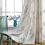 Blue Teal Flower Linen Curtains Valance – KoTing 1 Panel Natural Linen Teal Sage Small Short Curtains Drapes Grommet 18 inch Long Review