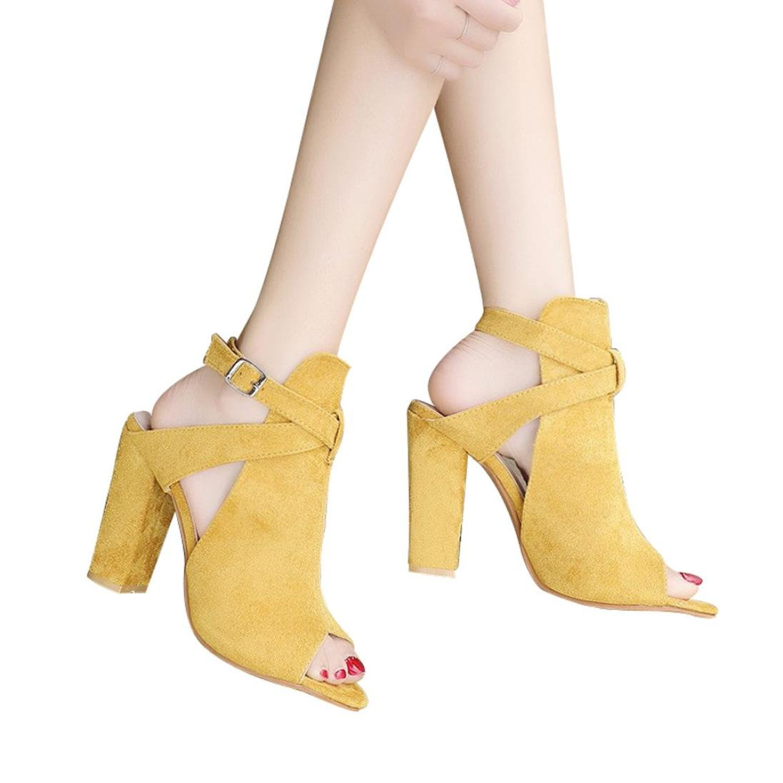 vermers Clearance Deals Women High Heeled Shoes Fashion Solid Flock Peep Toe Wedges Hasp Sandals(US:9, Yellow)