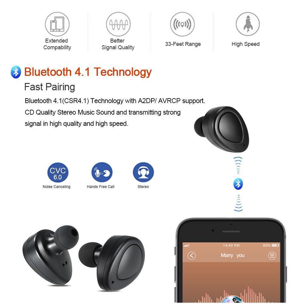 Conpush Mini Auriculares inalámbricos TWS Bluetooth En el ...