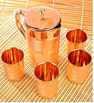 Emayes Set Of 4 Water Glasses And A Jug With Lid, Copper Drinkware Set For Ayurvedic Healing, Capacity 1.6 Litre Dinnerware Sets at amazon