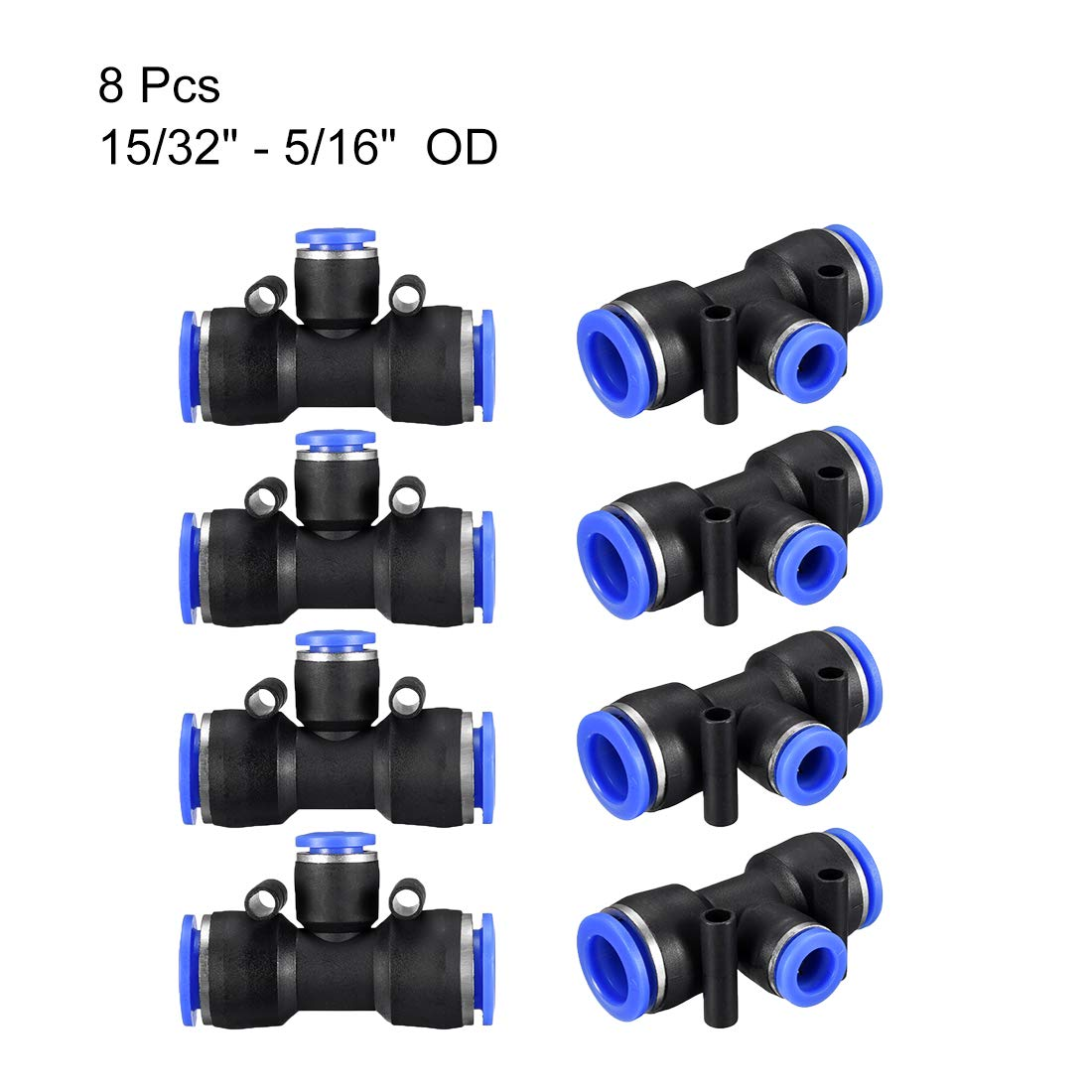 uxcell Plastic Tee Push to Connect Tube Fittings 15//32-25//64 od Push Lock Blue 12-10mm 8pcs