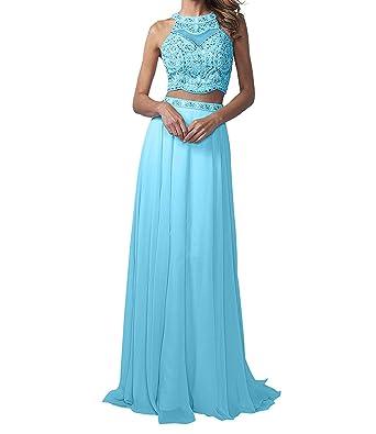 La Marie Braut Langes Zwei-teilig Perlen Abendkleider Promkleider  Partykleider Chiffon A-Linie Rock  Amazon.de  Bekleidung fc3de188a0