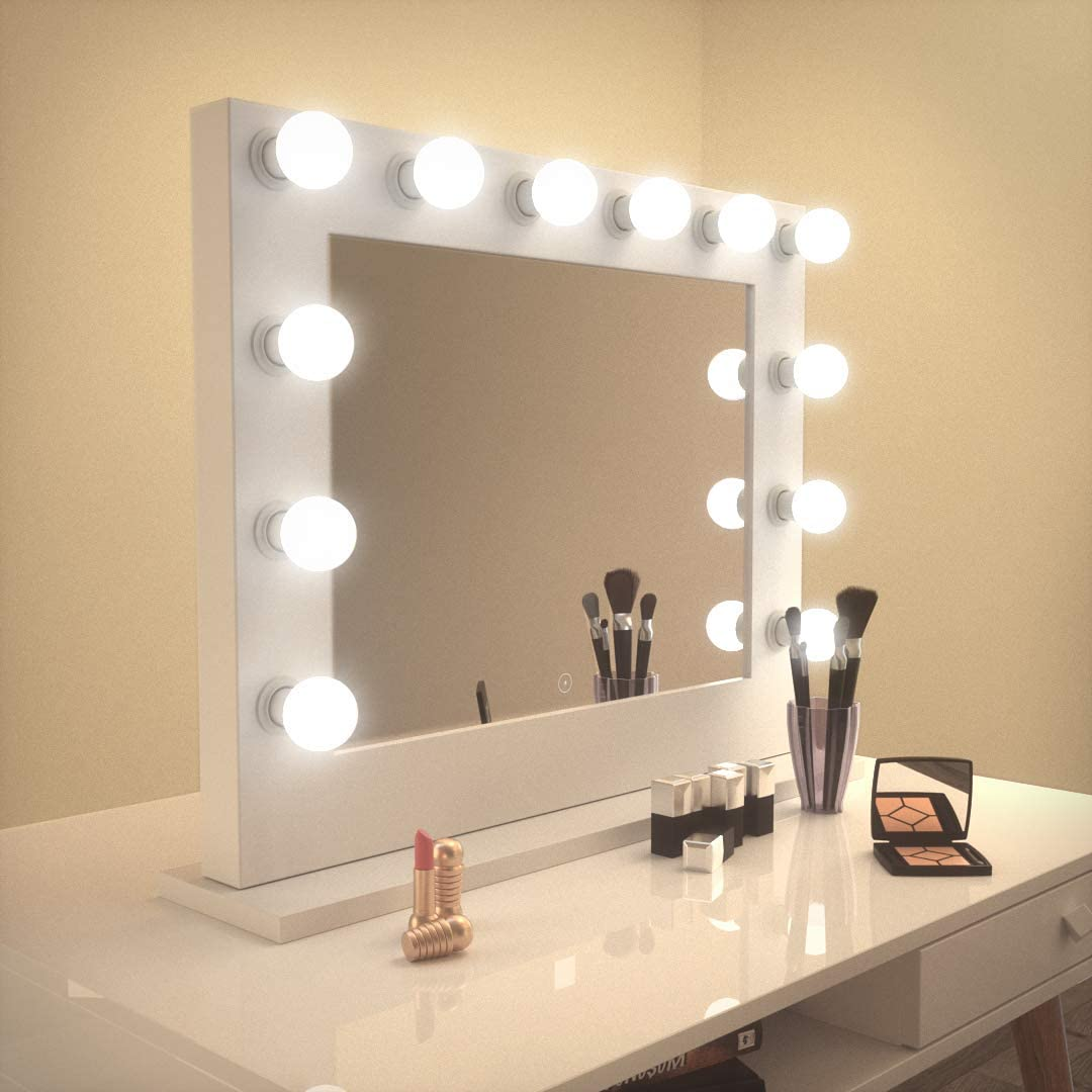 Amazon.com: Réflexon 26 x 32 Inch Hollywood Style LED Lighted Vanity Makeup  Mirror, Tabletop or Wall Mounted Vanity, Wood Frame, 14 Daylight LED  Dimmable Bulbs Included: Furniture & Decor