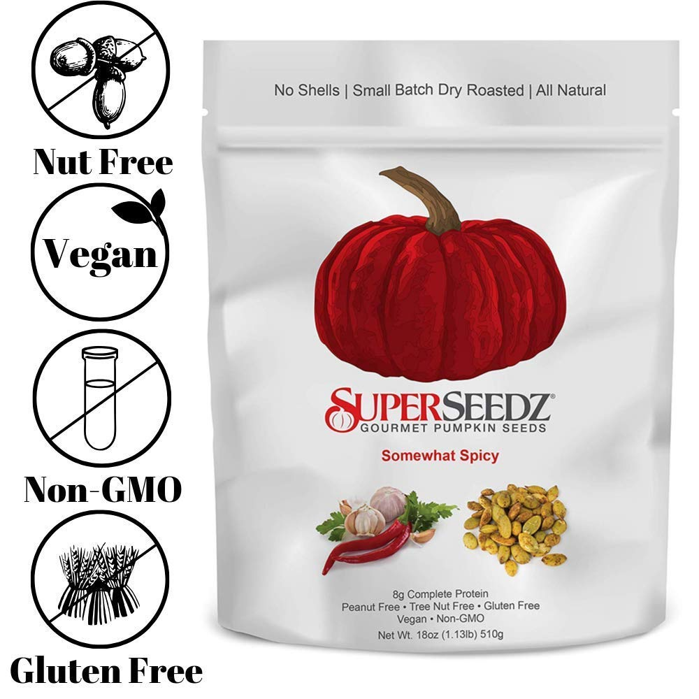 SuperSeedz Somewhat Spicy Pumpkin Seeds Keto and Paleo Snack - 18oz by SuperSeedz