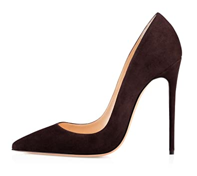 9ff3fe75215b3 EDEFS Chaussures à Talons 12CM Classics Suedes Escarpins Femmes Daim Coffee  - Taille 35
