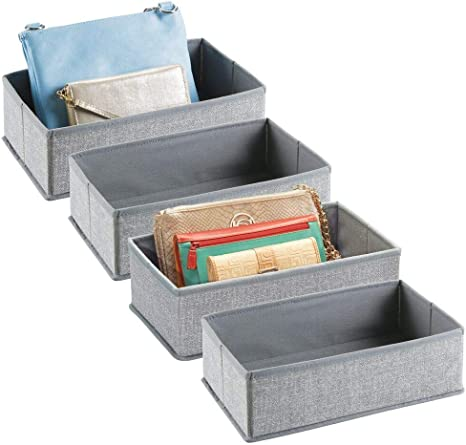 Purses Bras 2 Pack mDesign Soft Fabric Dresser Drawer and Closet Storage Organizer Bin for Lingerie Textured Print Clothes Socks Divided 2 Section Tray Scarves Gray Leggings