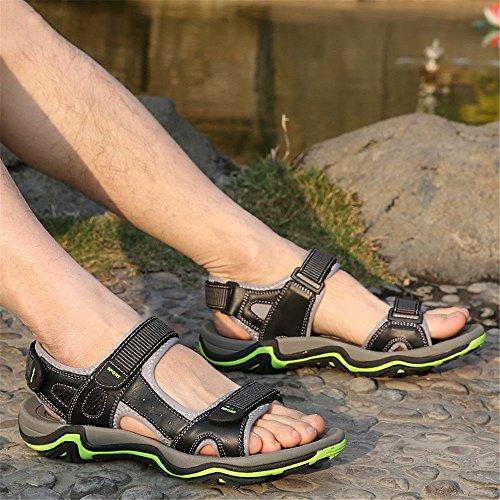 Transpirable Zapatos para Casual Redonda Playa de Sandalias Green Cuero QXH Hombres Cabeza qtwZzfF