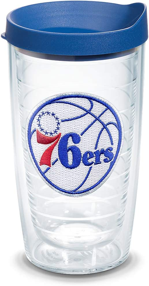 24oz Tervis NBA Philadelphia 76ers Primary Logo Insulated Tumbler with Emblem and Blue Lid Clear