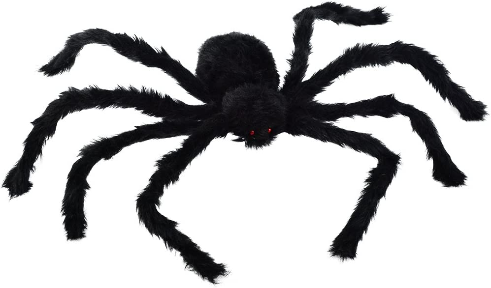 "Large Black Spider, Topbuti 30"" Big Plush Spider Halloween Scary Black Spider Red Eyes Spider Halloween Party Prop Decor Haunted House Decoration"